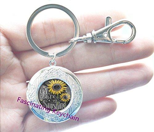 Sunflower Locket Keychain SMALL Sunflower Jewelry Sunflower Locket Key Ring Silver Sunflower Charm Flower Locket Keychain Bridesmaid Locket Keychain Flower Girl Gift,AE0107