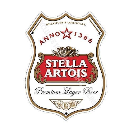 Stella Artois Bière Publicité Barre Ancienne Bar Pub Boissons Pump Badge Brewery Tonneau Keg Tirant Real Ale Pinte Alcool Houblon Forme Métal/Mural Métalique - 27 x 20 cm