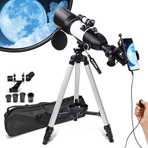 Telescopio para adultos y niños principiantes, 3 oculares giratorios, apertura de 80 mm, telescopio refractor astronómico, alta ampliación HD, portátil y equipado con adaptador de foto del teléfono.
