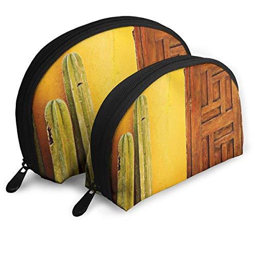 XCNGG Borsa portaoggetti in cactus e porta in legno Borsa portamonete Borsa da viaggio cosmetica One-Big e One-Small 2Pcs Matita per cancelleria Borsa multifunzione Portafoglio per bambini Portachiavi