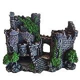 DEDC Decoración de Castillo de Acuario Adornos de Resina Cueva Castillo de Ornamento Paisaje con Plantas para Tanque de Pescados