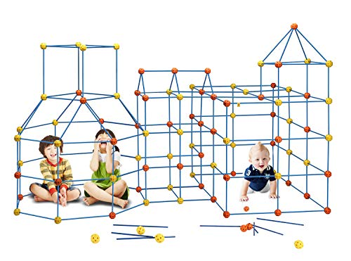 158 pcs Fort Building Kit Construction Forts Toys - DIY Build Making Kits Fort Building Kit for Boys and Girls Age 5+ Castles Tunnels Play Tent Rocket Tower Indoor & Outdoor