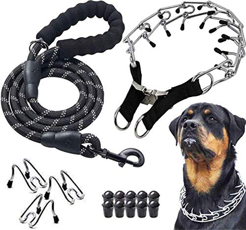 Companet Dog Prong Collar Pinch Training Collar Adjustable Size with Quick Release Buckle Stainless Steel Choke Pinch Dog Collar with Comfort Tips Heavy Duty Leash