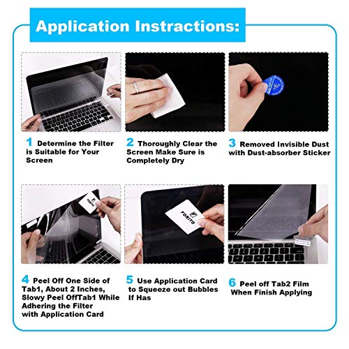 """FORITO 2PCS Compatible with MacBook Pro 13"""" Screen Protector Blue Light Filter, Blue Light Blocking Anti Glare Screen Protector for MacBook Pro 13 Model A1706 A1708 A1989 A2159 A2289 A2251"""