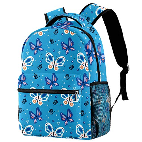 Beautiful Butterfly Pattern Blue Backpack for Teens School Book Bags Travel Casual Daypack