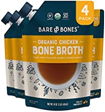 Bare Bones Chicken Bone Broth for Cooking and Sipping, Pasture Raised, Organic, Protein and Collagen Rich, Keto Friendly, 16 oz, Pack of 4