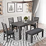 6 Piece Rustic Wooden Dining Table Set with Fabric Bench and 4 Fabric Dining Chairs, 6 Piece Dining Table Set for 6 People, Kitchen Table Set Family Furniture