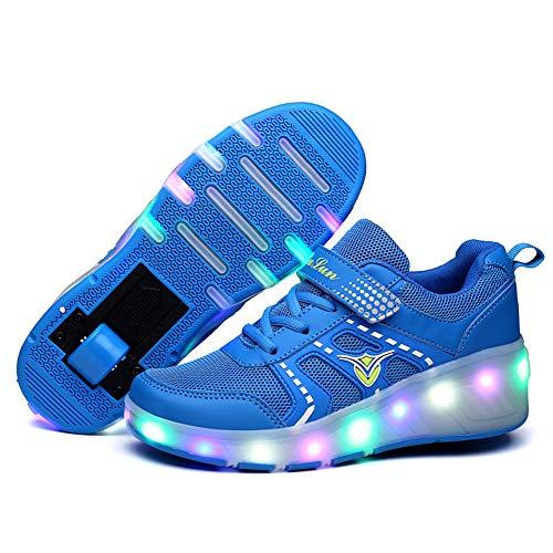 GGBLCS Zapatillas con Ruedas para Niños/Niña Led 1 Ruedas Automática Calzado de Skateboarding Deportes de Exterior Patines en Línea Aire Libre Running Zapatos Niños