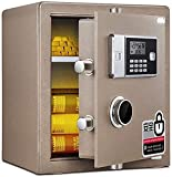 DSWHM Security Lock Boxes, Digital Safe - Electronic Steel Safe with Keypad,2 Manual Override Keys-Protect Money,Jewelry,Passports-for Home,Business or Travel