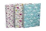 Oxford cuaderno de espiral, 400094959Hard Cover B55unidades a rayas blancas doble espiral 120páginas 3diseños surtidos Cuaderno Diario Bloc de anillo espiral (regalo Idea Floral Flores)