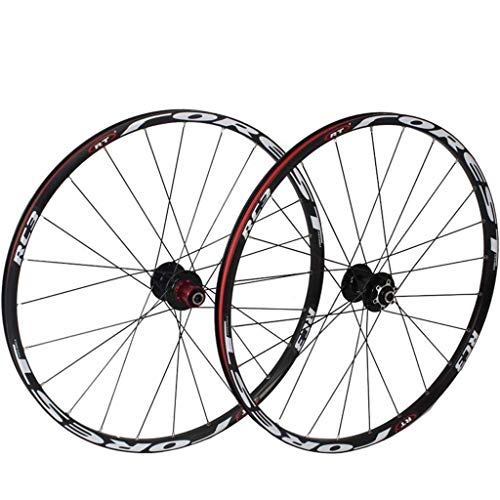 ZHTY Fahrradradsatz 26 27,5-Zoll-MTB-Fahrrad Vorderrad Hinterrad Doppelwandige Leichtmetallfelge 7 Palin-Lager Schnellspanner 8-11-Gang-Scheibenbremse 24H