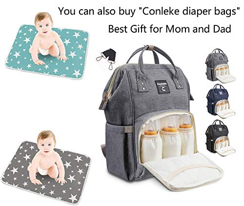 """Conleke Extra Large Baby Changing Pad Portable Waterproof Changing Diaper Mat for Any Places for Home Travel Bed Play Stroller Crib Car - Mattress Pad Cover for Boys and Girls 80x110cm (XL-Grey,31.5""""x43.3"""")"""