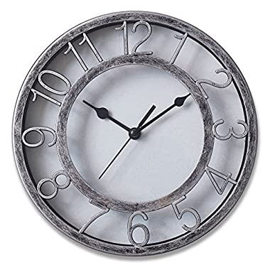 8  Silver Silent Wall Clock Non-ticking Wall Clock Round Ready to Hang Decor Wall Clock With Plastic Bezel