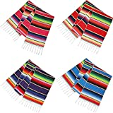 4 Pieces Mexican Table Runner Serape Tablecloth Fiesta Centerpieces Mexican Shawl for Mexican Theme Party Decoration Cinco de Mayo Fiesta Birthday Party
