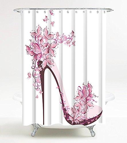 Duschvorhang Schuh 180 x 200 cm, hochwertige Qualität, 100prozent Polyester, wasserdicht, Anti-Schimmel-Effekt, inkl. 12 Duschvorhangringe