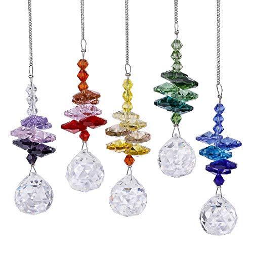 H&D Kristall Regenbogen Sonnenfänger Glas Hängender Fengshui-Anhänger,5er-Set