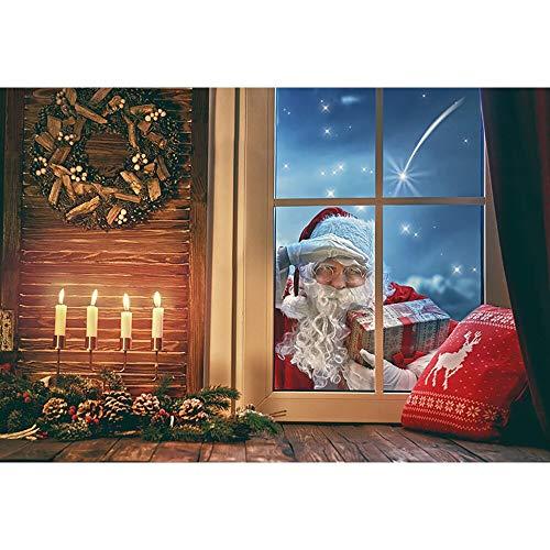 Fondos de Navidad para Fiestas Familiares, Invierno, Nieve, árbol, Santa, Piso de Madera, Fondos para niños, sesión fotográfica para Estudio fotográfico A6, 10x7ft / 3x2,2 m