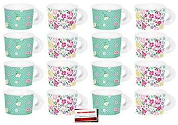 16 Pack  Floral Tea Time Party Paper Cups with Handles  Plus Party Planning Checklist by Mikes Super Store