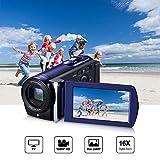 Videocamera, LESHP Mini DV Videocamera digitale Full HD 1080P 16x Zoom 16MP Videocamera digitale 3,0 ' Schermo LCD 270 °rotazione CMOS Sensore Cattura Facciale, Blu