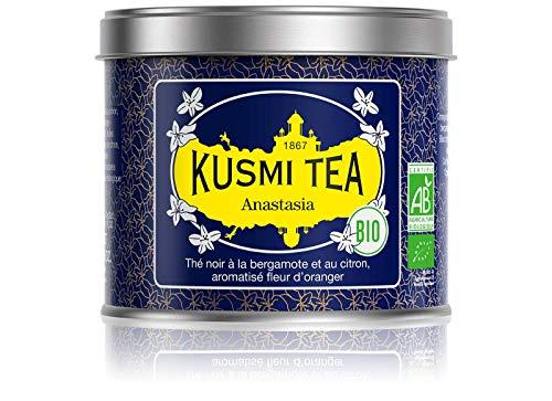 Kusmi Tea - Anastasia Schwarzer Tee Lose bio Aromatisiert mit Bergamotte, Zitrone und Orangenblüten - Emblematischer Earl Grey Tee - 100 g Metalldose (etwa 40 Tassen)