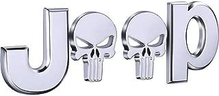 3D Metal para Jeep Skull Logo Car Side Fender Rear Trunk Emblema Insignia calcomanías para Chrysler JEEP Grand Cherokee Wrangler Compass Cherokee Renegade Patriot Grand Comander (Silver)