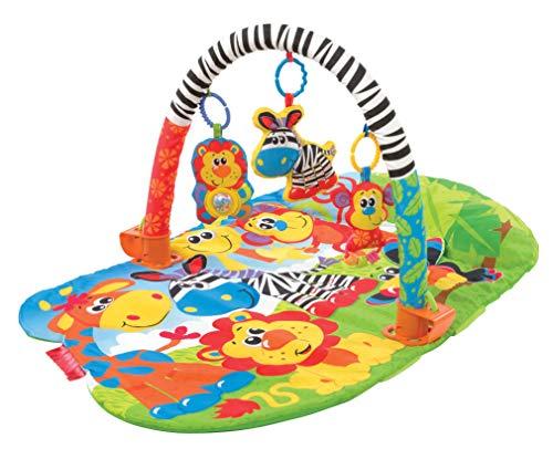 Playgro Krabbeldecke mit Spielbogen, Mit abnehmbarem Spielzeug, Ab 0 Monate, Safari Super Gym, Bunt, 40108