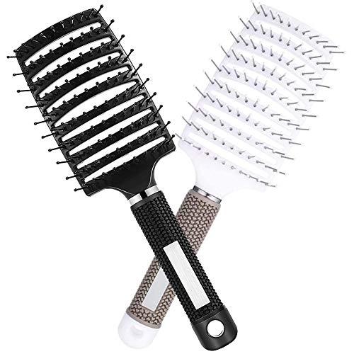 2PCS Cepillo de cerdas de jabalí, Cepillos para el cabello, mejor en desenredar cabello grueso, ventilado para un secado más rápido, para cabello largo, grueso, rizado y enredado