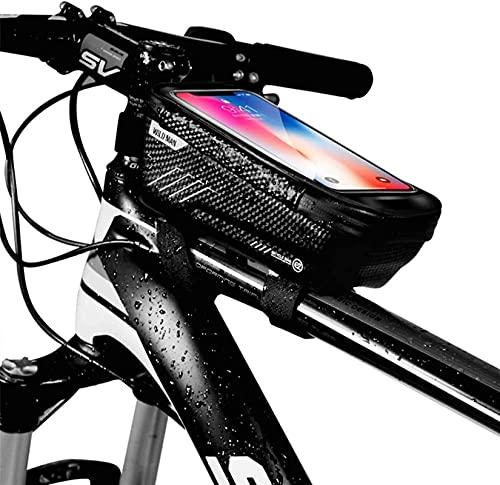 XINGDONG Bolso Delantero de la Bicicleta Bolsa de Bicicleta Bicicleta de montaña Bolsa de Vigas Delanteras Tubo Tubo Tubo MÓVIL Equipo Equipo Durable (Color : Black)