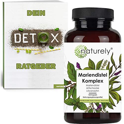 naturely® Premium Mariendistel Komplex inkl. Detox Ratgeber - 120 Kapseln - Mariendistel (80% Silymarin), Artischocke, Löwenzahn - Hochdosiert, vegan, laborgeprüft, hergestellt in Deutschland