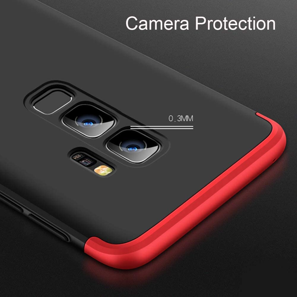 Feimeng Slim Case for Galaxy S9 Plus, 3-in-1 Ultra-Thin Hard PC Case Cover Anti-Scratches 360 Degree Full Body Protective Cover Compatible with Samsung Galaxy S9 Plus 6.2 inch (2018) (Red)