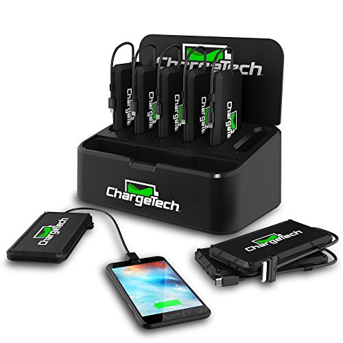 ChargeTech Battery Pack Dispenser Dock w/ 8 Rechargeable Power Banks - Portable Charger with Universal Charging Cables for All Devices: iPhone, iPad, Android, Samsung, Tablets [Black]