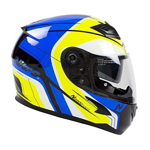 Casco de moto amarillo y azul
