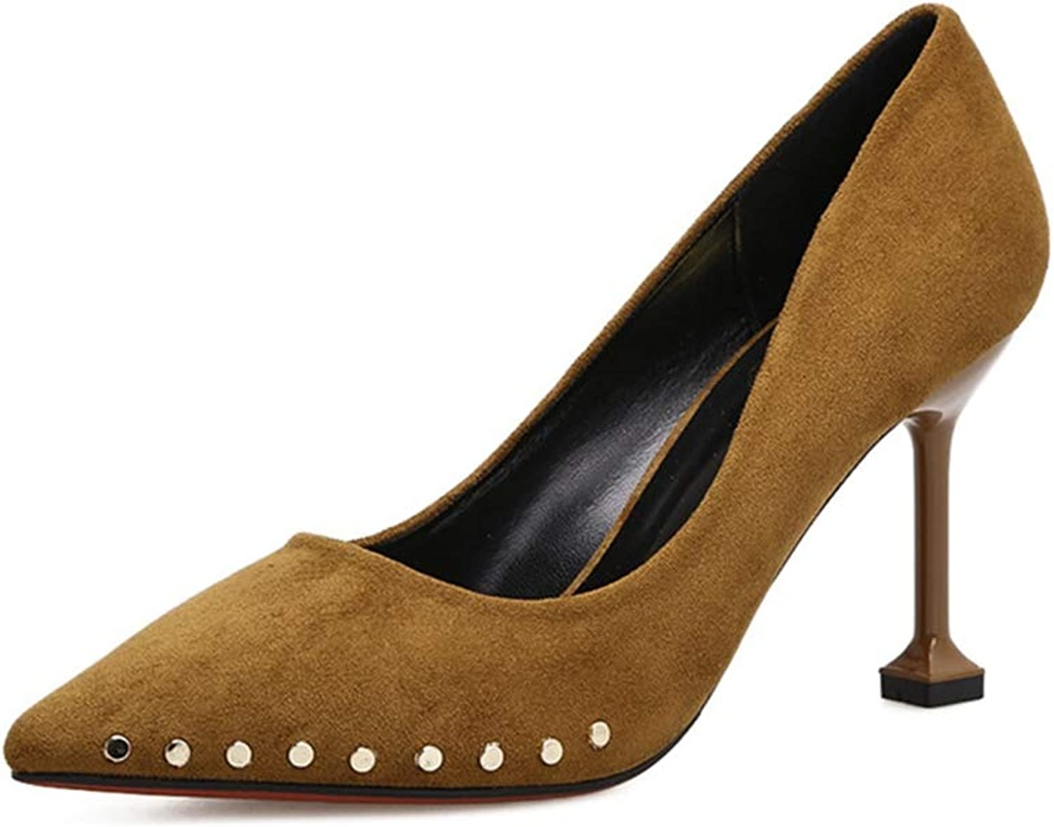 Phil Betty Women's Pumps,Suede Stylish Rivet Solid color Slip-on Spring Formal High Heels