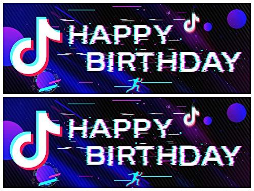 2pcs Tik Tok Geburtstagsfeier Banner, Tik Tok Geburtstagsfeier Dekorationen, Tik Tok Hintergrund, Tik Tok Geburtstagsbanner für Mädchen Musik Karaoke Themen Partyzubehör