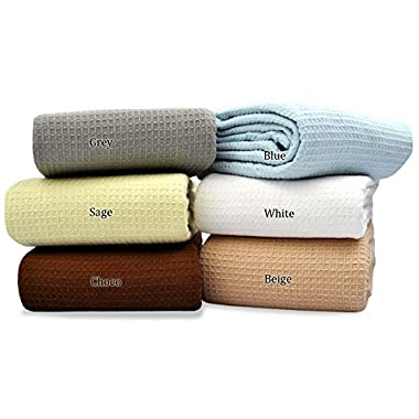 Cotton Throw Blanket (QUEEN - 90 X 90 Inches, Brown) Breathable Thermal Blankets Ultra Cozy Light Weight Waffle Design, Easy Care by Queenzliving