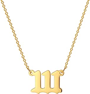 VLINRAS Angel Number Necklace 18K Gold Plated 111 222 333 444 555 666 777 888 999 Necklace for Women Numerology Jewelry