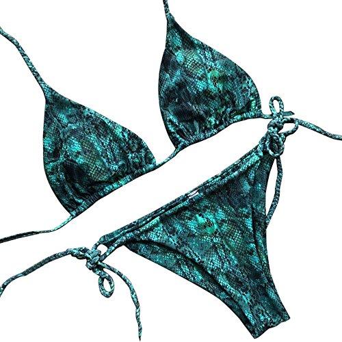 Proumy Conjunto de Bikini Estampado Serpiente Ropa de Baño Verde Oscuro Bikinis de 2 Piezas Bañador con Tanga Vestido de Playa de Correas Finas Traje de Piscina Espalda Abierta Sexy para Verano