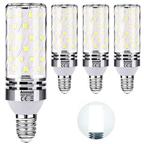 Anmossi Bombilla LED E14,Blanco Frío 6000K,1200Lm,12W E14 Maíz Bombilla,Equivalente Bombillas Incandescente 100W,No Regulables,Bombilla LED Roscada Fina,Paquete de 4