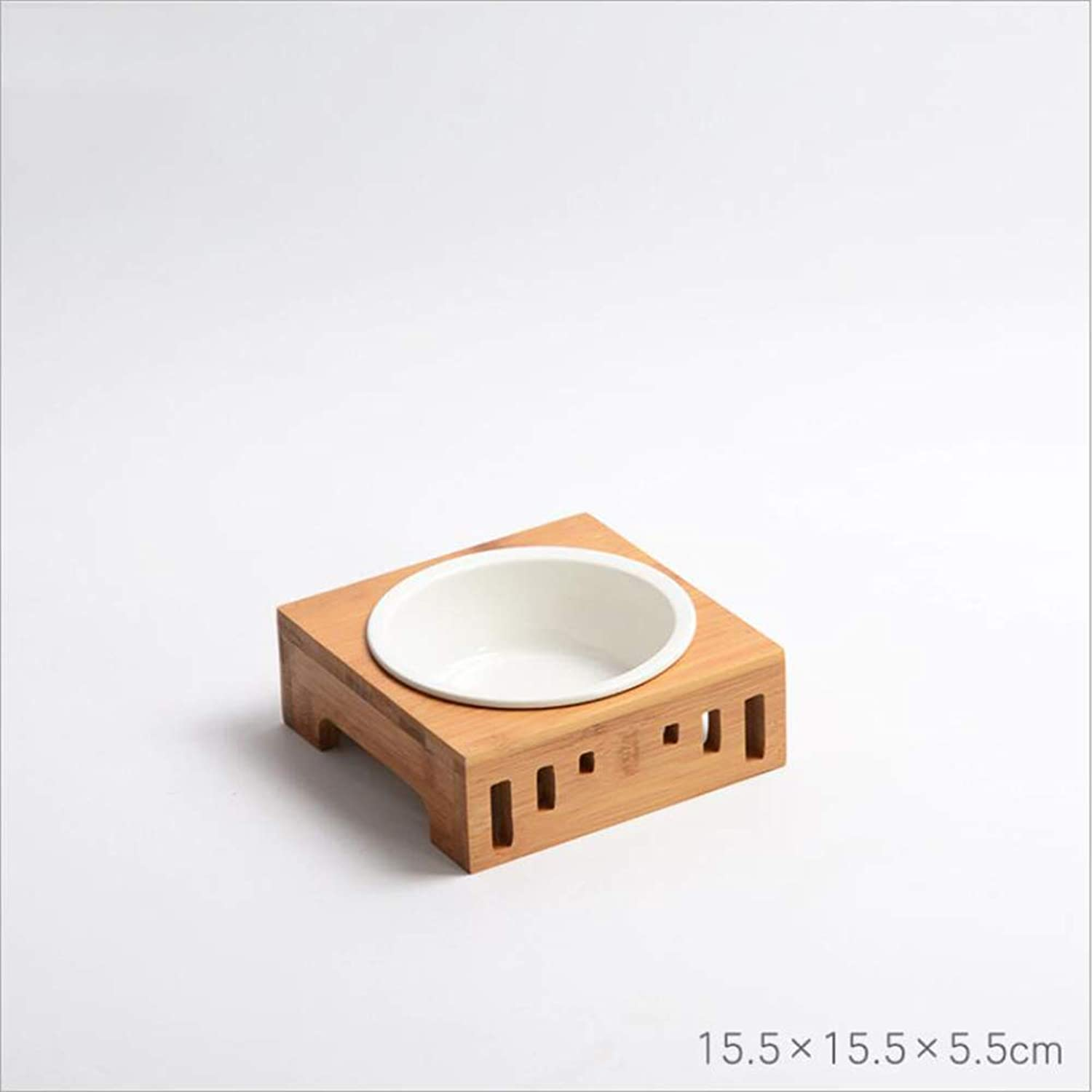 Fashion Cat Bowl Bamboo Wood Pet Table Ceramic Dog Bowl Pet Bowl,C
