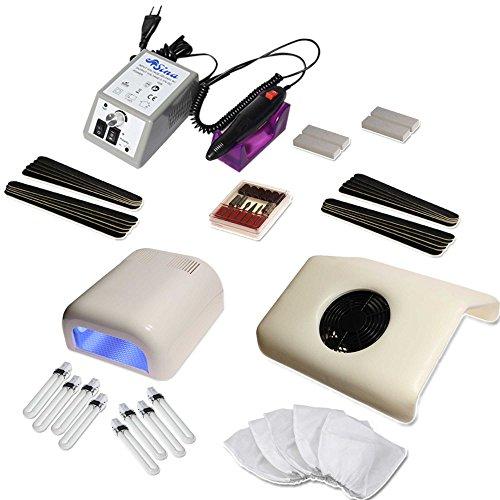 Set Manicure avec Ponceuse pour Ongles GRIS, Aspirateur pour Ongles, Lampe UV et beaucoup des Accessoires