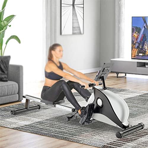 WZFANJIJ Máquina de Remo, con riel Deslizante de Aluminio, 8 Niveles de Resistencia Ajustables Monitor LCD para Uso doméstico Máquina de Remo para Gimnasio en casa