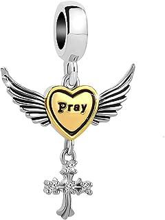 Q&Locket Angel Wings Cross Pray Heart Charms Beads for Bracelets