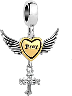 Charmed Craft Religious Cross Pray Charms Angel Wing Beads for Snake Chain Bracelets