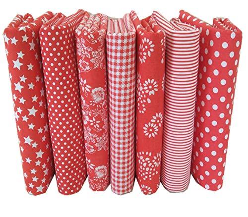 Egurs 7 stücke Rot Stoffpakete Baumwollgewebe Patchwork Stoffe Baumwolle Tuch DIY Handgefertigte Nähen Quilten Stoff Baumwollgewebe 50 * 50