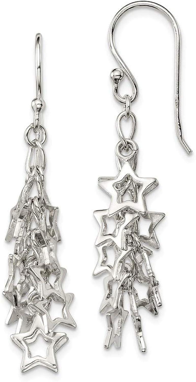 Beautiful Sterling silver 925 sterling Sterling Silver MultiStars Dangle Earrings