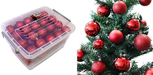 Lot 70 boules de Noël 4/5/6cm - Noel Décoration Sapin - Rouge - 465