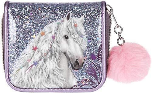 Depesche 10775 Portemonnaie mit Glitzer, Miss Melody, lila, ca. 12 x 10 x 3 cm