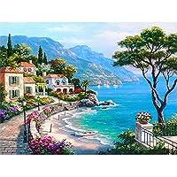 5D DIYダイヤモンドペインティングキット、フルドリルクロスステッチキットクリスタル刺繡写真家の装飾のためのクロスステッチアートクラフト海辺の風景45x60cm