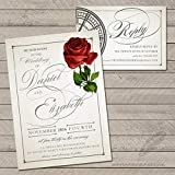 Be Our Guest Rose Wedding Invitations and RSVP Cards (Set of 10) Envelopes Included Personalized