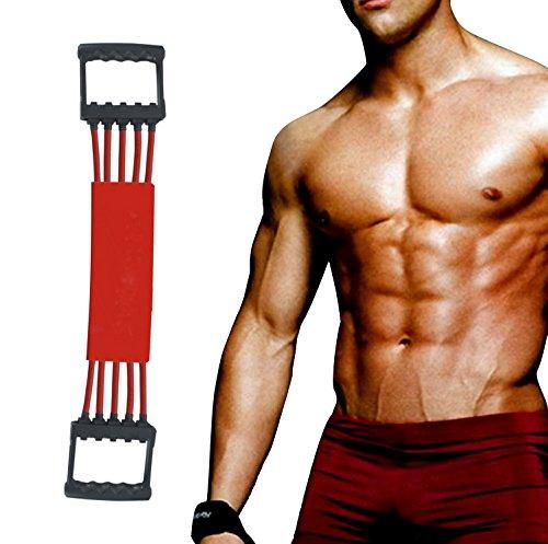 Winline Verstellbarer Chest Expander -Brust Expander - Trainingsgerät für Muskeln - 5 Strings mit Sicherheits-Ummantelung (Red)